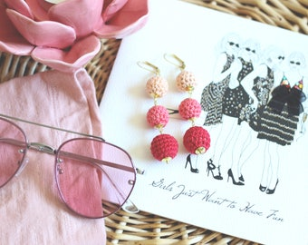Pink Gradient Bon Bon Dangle Earrings