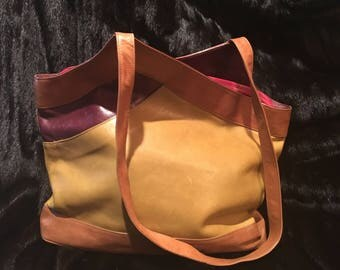 Maxi Multi-Color Leather Handbag
