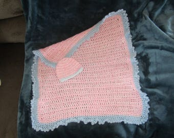 Crocheted Blanket (variegated pink with blue trim) For your Reborn or small baby (with hat)