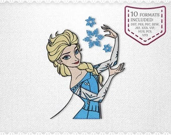 Elsa Frozen Embroidery Machine Design - INSTANT DOWNLOAD - Not Applique, Fill Stich Embroidery, Designs