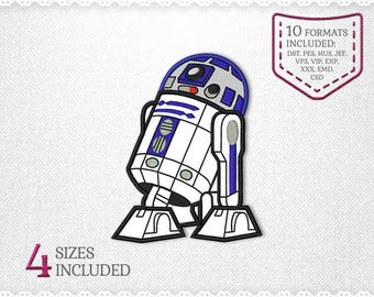 Star Wars R2D2 Applique Machine Design - 4 Sizes - INSTANT DOWNLOAD - Applique, Embroidery, Designs