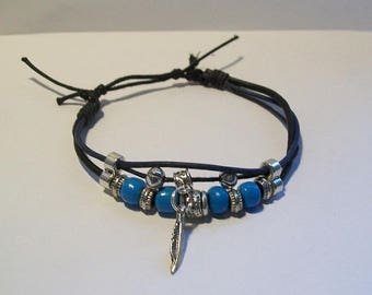 Mens black leather cord bracelet