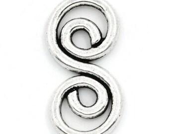 1 connector shape spiral twist metal 26 * 13 mm