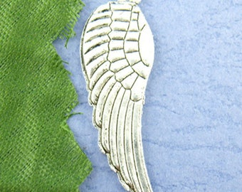 lot 5 10 * 30 mm metal wing charms