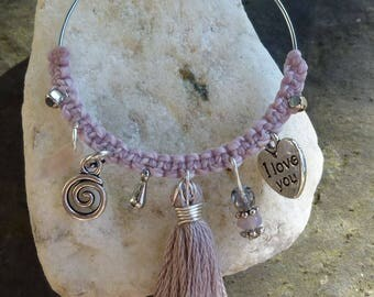 Silver charms and pink old macrame hoop earrings