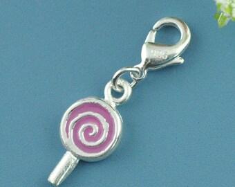 Silver lollipop charm pendant