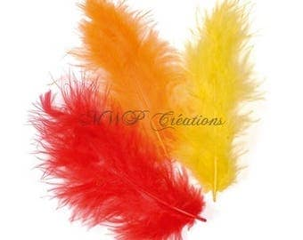 Trio of marabou feathers - various assorted colors-