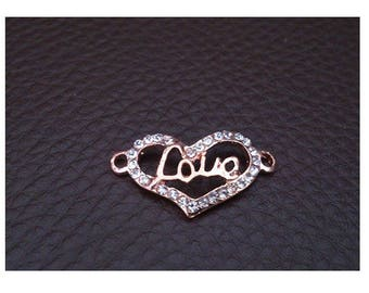 X 1 connector heart / love pink copper metal with Rhinestones