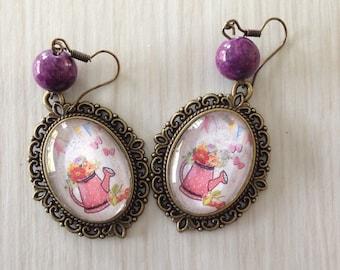 Pair of vintage watering can earrings
