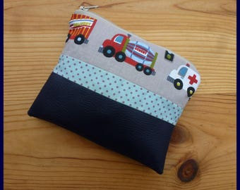 """Kit multi function """"My car, truck"""" faux leather fabric and dark blue cotton"""