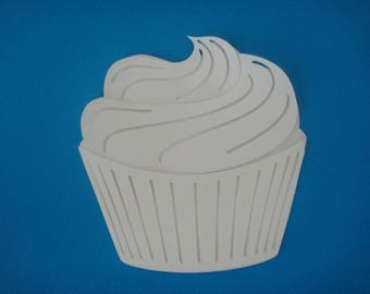 Cut cup cake white for scrapbooking and card
