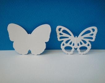 Cutting white 2 butterflies set of 4 cm height