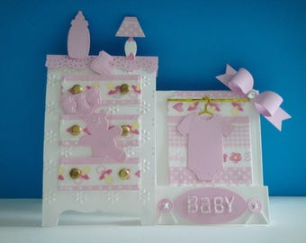 Kit tent card baby girl birth to make you even