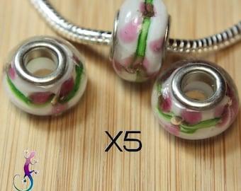 5 beads pendant lampwork murano glass pink white and green pandora style