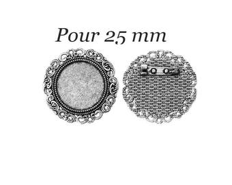 set of 4 holders pin-brooch silver 25 mm cabochon