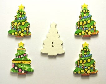 LOT 5 wood buttons: Christmas tree 25 * 35 mm (No. 02)