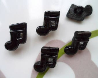 LOT 6 buttons: note music black 15mm