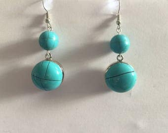 Round Pearl and turquoise head snap interchangeable earrings 5.5 mm snap