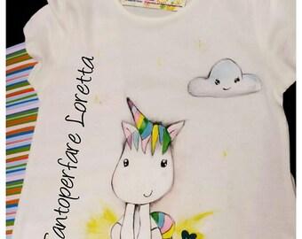 hand painted t shirt Unicorn