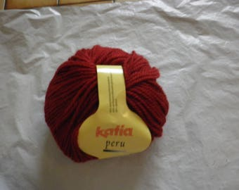 Alpaca and wool KATIA PERU Pincushion 100 g 24 Burgundy color