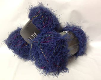 wool-knitting-crochet - 10 skeins wool fur/blue Nightgown with colorful yarn / super soft