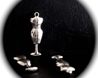 2 PENDANTS MANNEQUINS sewing 3D silver-plated nickel and lead free