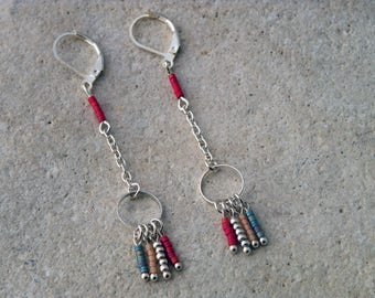 Miuyki beads and silver circle earrings
