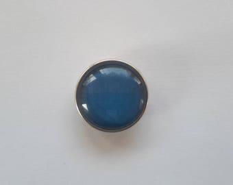 snap glass cabochon 18mm plain blue at night.