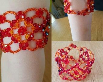 Red swarovski crystal Cuff Bracelet