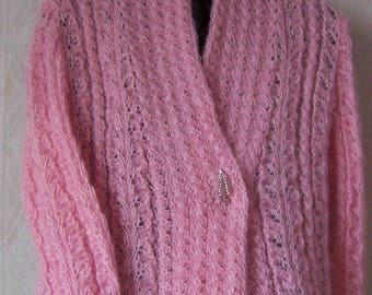 Vest pink warm and soft mohair