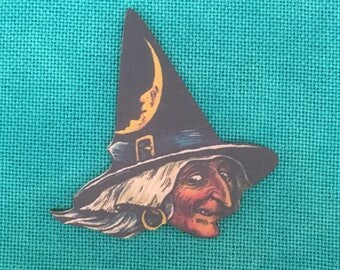 Halloween Witch Wooden Needle Minder