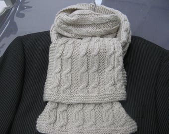 scarf knitted with needles with wool yarn and acrylic