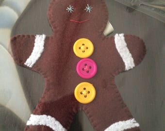 hand stitched Christmas gingerbread man Christmas ornament
