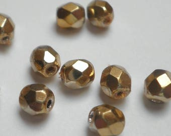 25 4 mm gold faceted beads