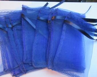 Pockets 5 x 7.5 cm 11.5 dark blue organza