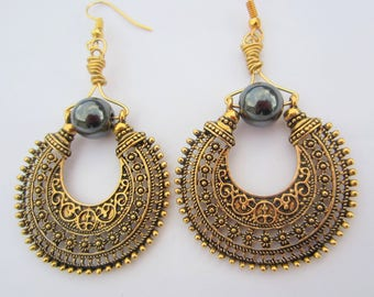 hématite black gold earrings