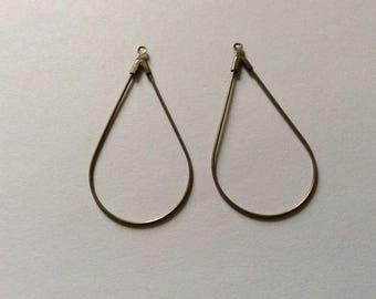 2 support Bronze 45 * 23MM drop earrings