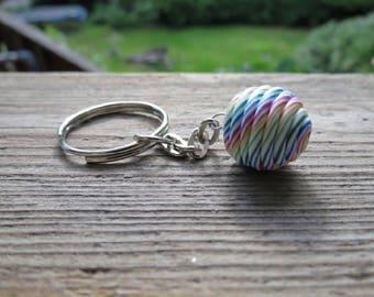 Rainbow marble keychain
