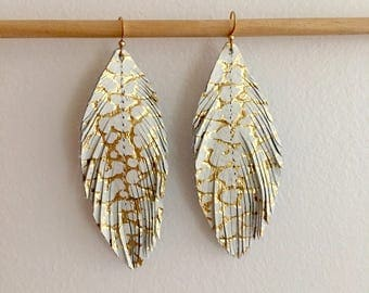 White and gold genuine LEATHER feather earrings metallic leather earrings lightweight dangle earrings