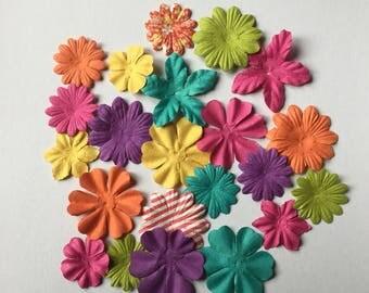 Set of 22 flowers paper embellishments scrapbooking