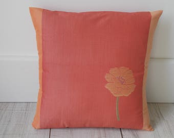 Pink pillow cover orange patterned flower