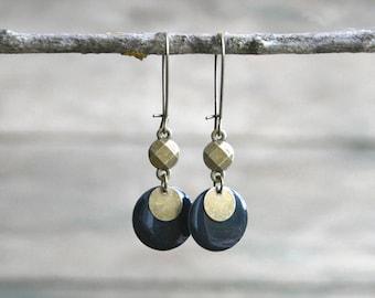 Fancy sequins bronze and dark blue - gem sequin enamelled - earrings contemporary earrings
