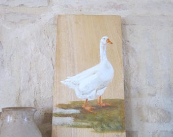 White goose, painted on wood