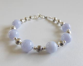 with semi precious chalcedony beads toggle bracelet