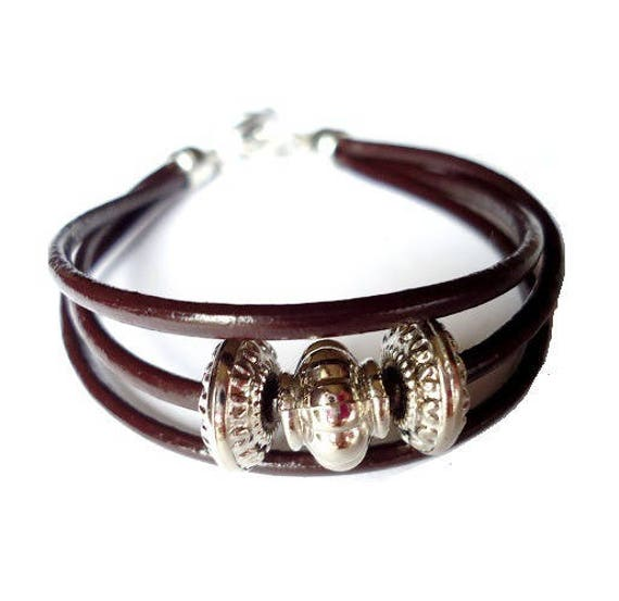 Diy Kit Leather And Metal Bracelet Brown And Silver Charm Zebra Ethnic Style Easy