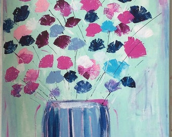 Contemporary abstract, painting flowers - contemporary art abstract modern