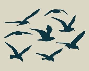 Adhesive vinyl stencil. Flight of gulls (ref 92)