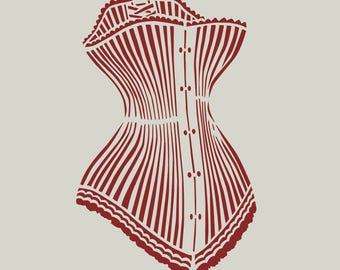 Adhesive vinyl stencil. Corset style old fashion (ref 57)