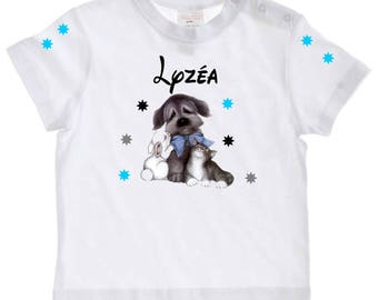 tee shirt baby dog, rabbit, cat with age personalized with name