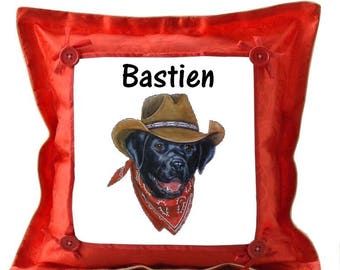 Red cushion Labrador cowboy personalized with name